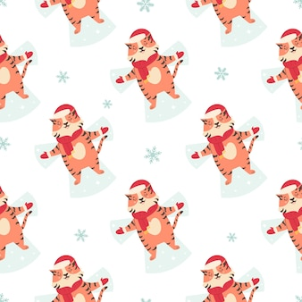 Holiday seamless pattern with funny tigers making snow angels.