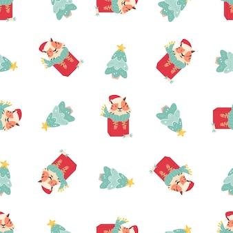Праздник бесшовные модели с забавными тиграми, сидящими в подарочных коробках и рождественских елках