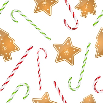 Holiday seamless pattern with hard candy cane striped and christmas cookies