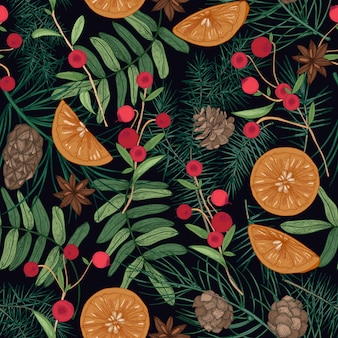 Holiday seamless pattern with pine and spruce tree branches, needles and cones, rowan berries and cranberries, oranges, star anise