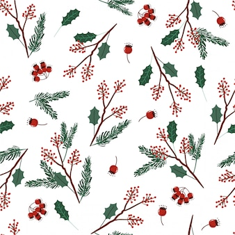 Holiday seamless vector green and red colors pattern with leaves and berries for christmas