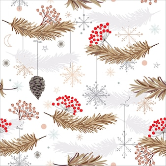Holiday seamless vector pattern with leaves ,flowers and snow flake