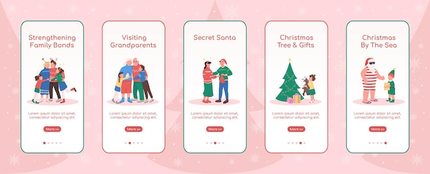 Плоский шаблон экрана мобильного приложения в праздничный сезон рождество у моря пошаговое руководство по шагам веб-сайта с персонажами ux ui gui смартфон с мультяшным интерфейсом