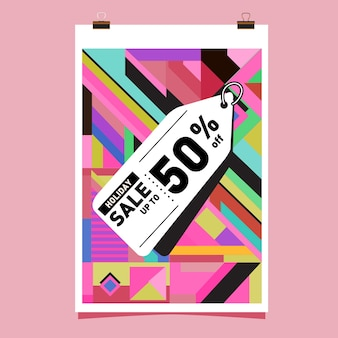 Holiday season sale up to 50% poster design template