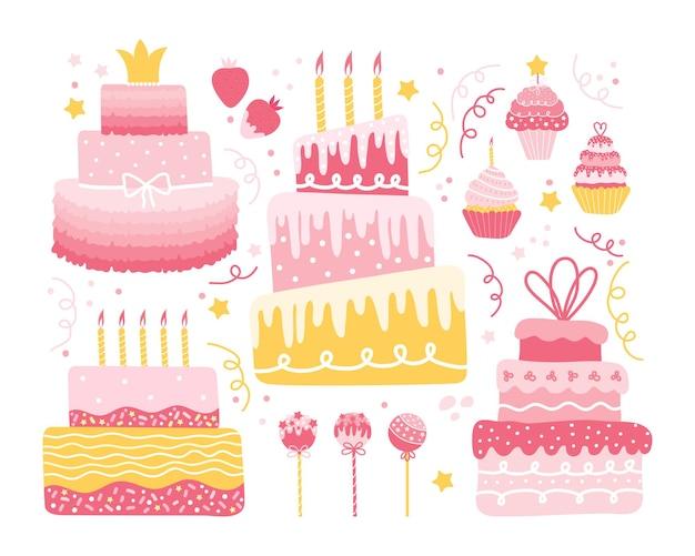 お祭りのデザインのためのさまざまな甘い要素の休日のセット。ケーキ、カップケーキ、マフィン、クリーム入りイチゴ、丸いロリポップのコレクション。誕生日、結婚式、記念日、バレンタインデー