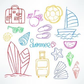 休日。夏のシンボルのセットです。手描きイラスト