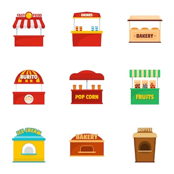 Holiday shop icons set, cartoon style