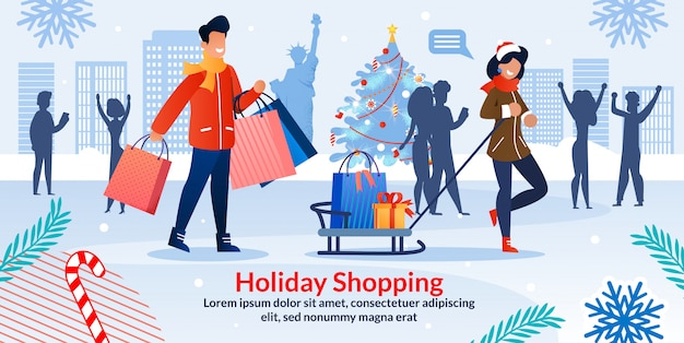 Holiday shopping christmas sale invitation poster
