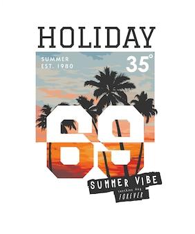 夏の夕日の背景イラストを休日のスローガン