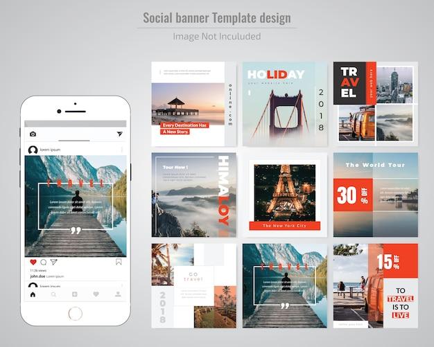 Holiday social media post template Premium Vector