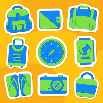 Holiday sticker pack in flat style