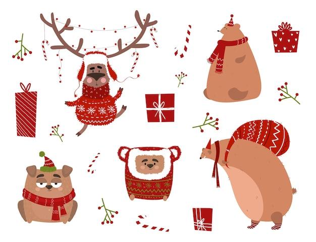 Праздничные наклейки с оленями в костюме, собакой, медведем в шарфе. рождественская открытка с животными в мультяшном стиле.