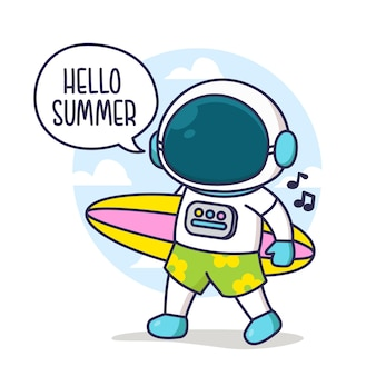 Holiday summer astronaut with ball surfing board