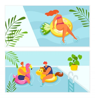 Holiday summer relax in water pool, vacation travel  illustration. girl woman man sunbathing at beach, people float swim in swimsuit. swimming leisure at resort, relaxation lifestyle.