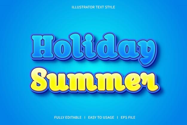 Праздничное лето, эффект шрифта в стиле текста синий желтый