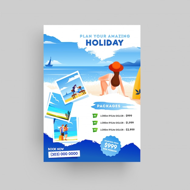 Holiday, summer travel and tourism flyer