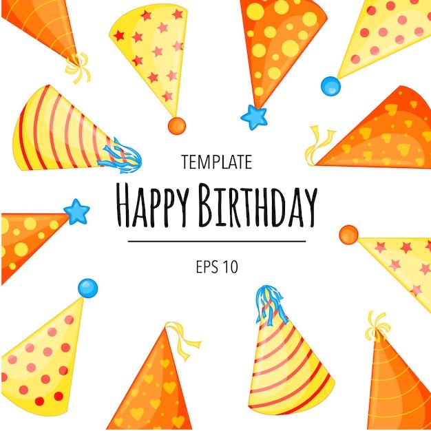 모자가 있는 생일 텍스트의 휴일 템플릿입니다. 만화 스타일입니다. 벡터.