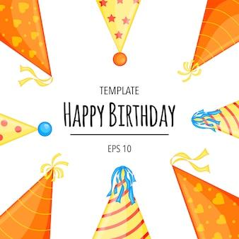 キャップ付きの誕生日テキストの休日テンプレート。漫画のスタイル。