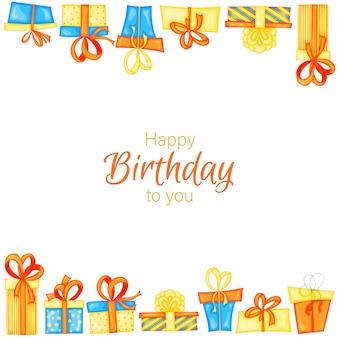 선물 상자가 있는 생일 텍스트의 휴일 템플릿입니다. 만화 스타일입니다. 벡터.