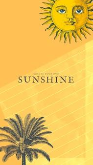 Modello di vacanza con tecnica mista sole e palma, remixata da opere d'arte di pubblico dominio