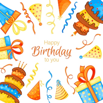 Holiday template for your birthday text. cartoon style. vector.