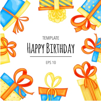 Holiday template for your birthday text with gift boxes cartoon style