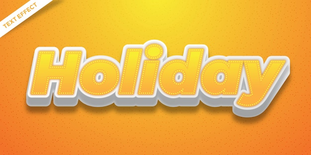 Holiday text effect orange and white color