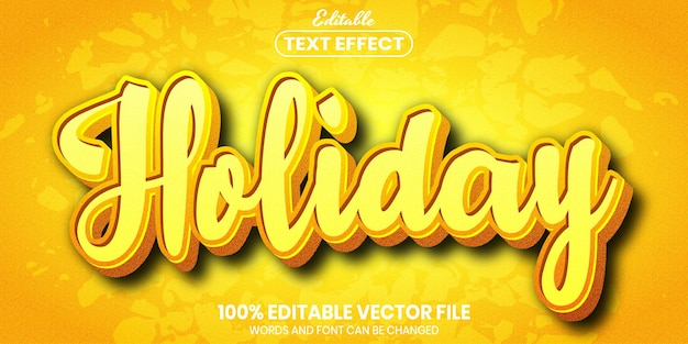Holiday text, font style editable text effect