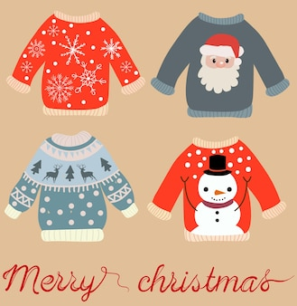 Holiday themed pattern of christmas sweaters with santa claus, snowman, snowflakes and elks.