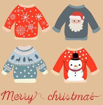 Праздничный тематический узор из рождественских свитеров с санта-клаусом, снеговиком, снежинками и лосями.