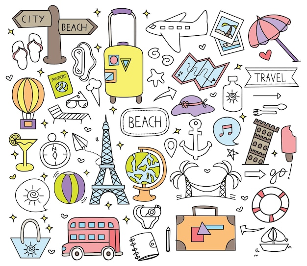 Holiday travel doodle set vector illustration
