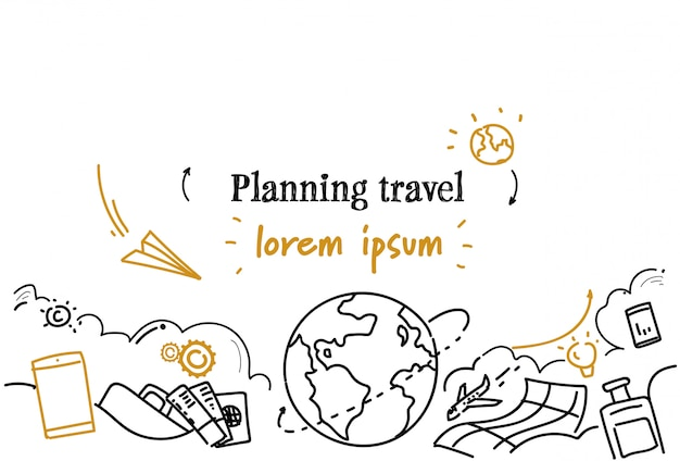 Holiday vacancy tour route planning travel horizonal template Premium Vector