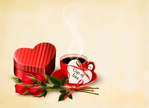 休日のバレンタインデーの背景。赤いハート型のギフトボックスと赤いバラ。