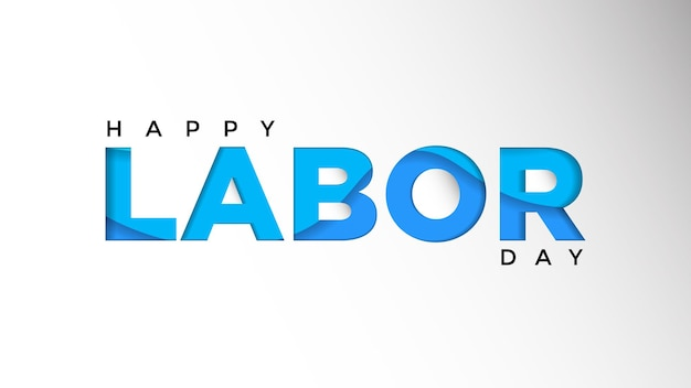 Holiday vector illustration of paper cut happy labor day with american flag