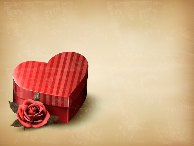Holiday vintage valentine`s day background. red rose with red heart-shaped gift box.