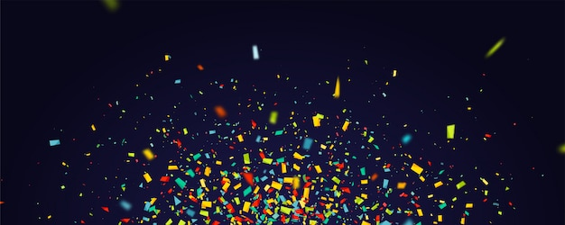 Holiday with flying colorful confetti on dark