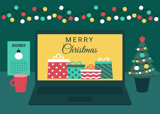 Holiday with gifts on screen laptop. buying, receiving, giving gifts online via internet.