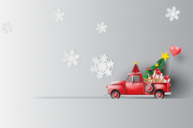 Holiday with red classic pickup truck car