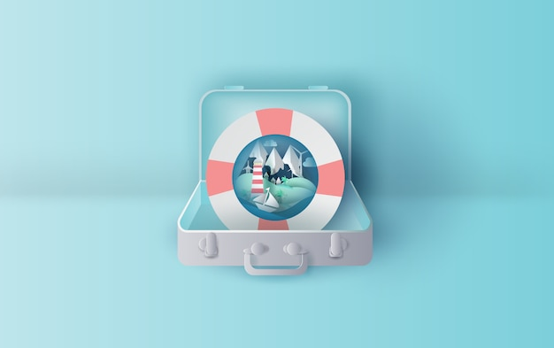 Holiday with swim ring in suitcase concept