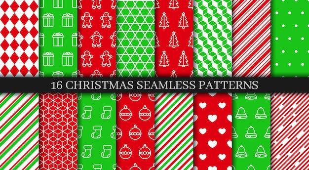 休日の包装紙。クリスマスのシームレスなパターンコレクション