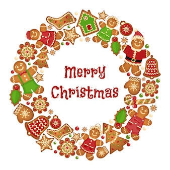 クリスマスクッキーのホリデーリースフレーム。お祝いの挨拶の飾り、ミトンとビスケットの鐘、スノーフレークと木。