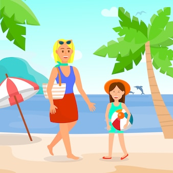 Holidaymakers on beach color vector illustration.