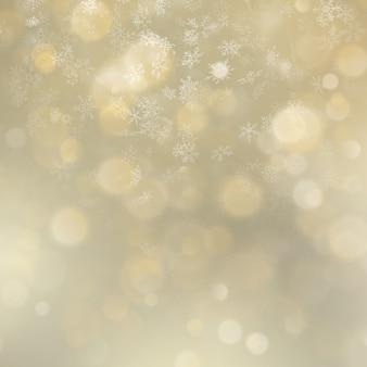 休日は、雪とゴールドのボケの背景を抽象化します。