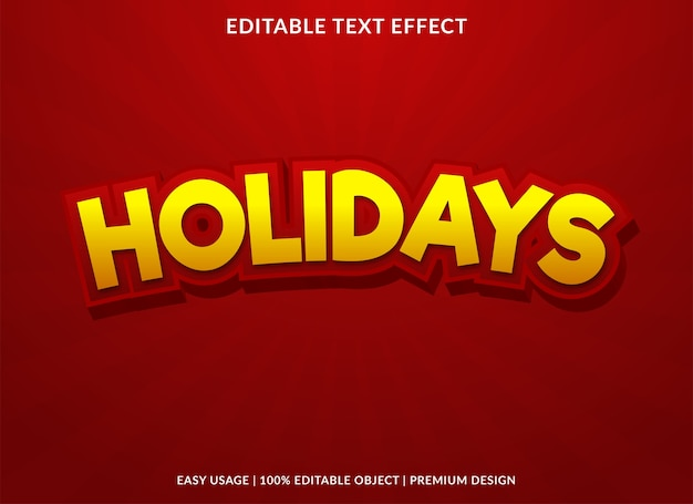 Holidays cartoon text effect premium style