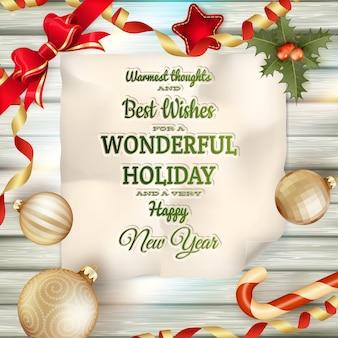 休日の挨拶とクリスマスカード。