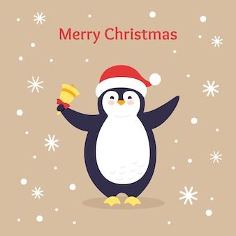 休日はがき漫画挨拶クリスマス。ベル付きペンギン。フラットカード、手描きの文字。孤立した図