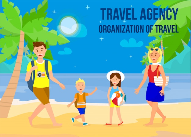 Holidays on sea resort flat banner with copyspace.