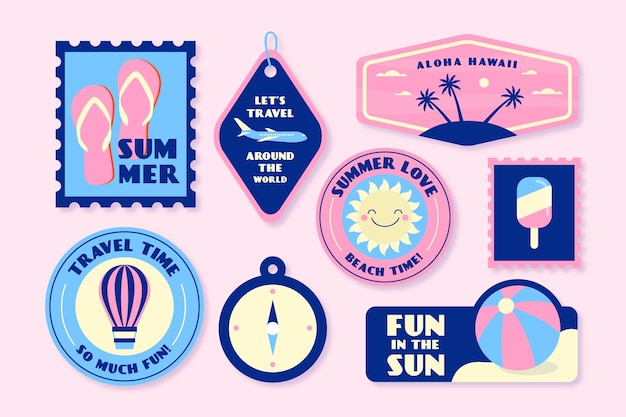 Holidays in summer sticker collection in 70s style