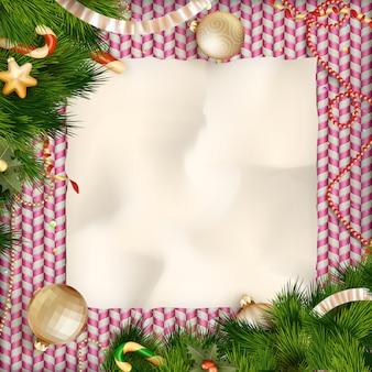 休日のお菓子の挨拶とクリスマスカード。