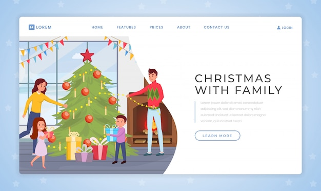 Holidays with family landing page template